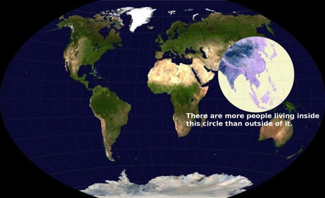 Более половины населения планеты живет на территории обозначенной кругом - 3 637 830 357 человек или 51.4% населения Земли
