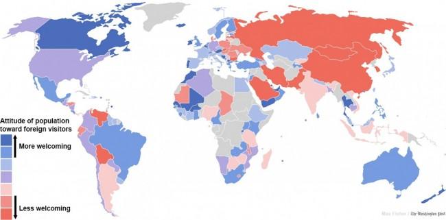 Карта, показывающая страны, где люди наиболее и наименее приветливы к иностранцам