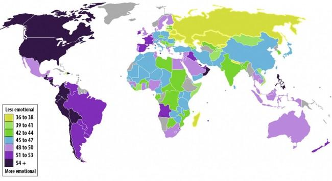 """Карта, показывающая где живут самые эмоциональные и самые """"холодные"""" люди"""