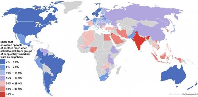 Регионы мира с наибольшей и наименьшей расовой толерантностью