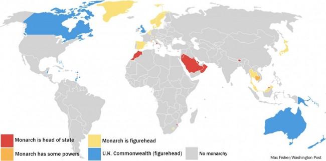 26 действующих монархий мира