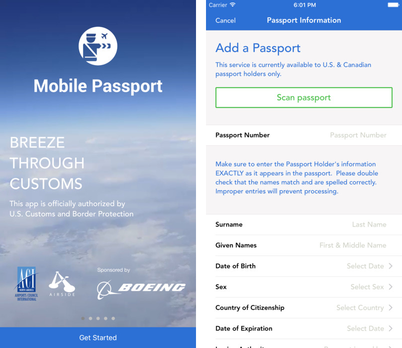 Приложение Mobile Passport App - Officially Authorized by CBP
