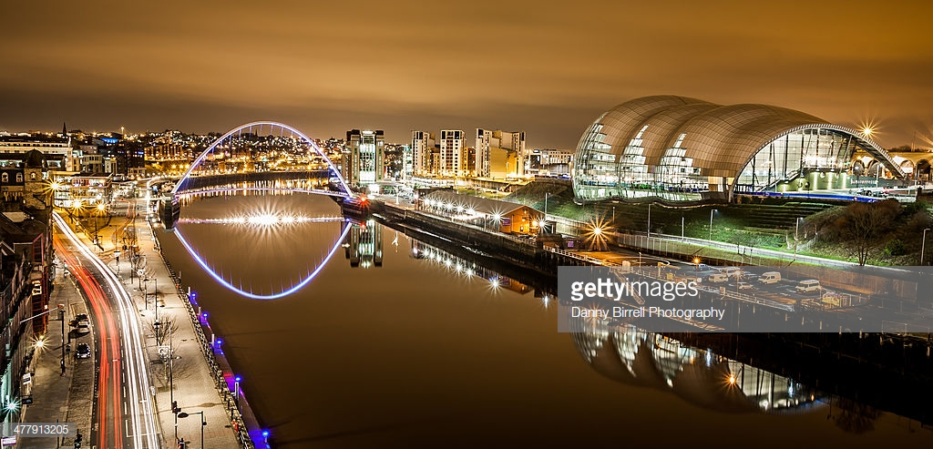 Newcastle Quayside.Long exposure showing The Sage, Millennium Bridge and car light trails.